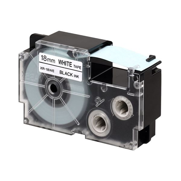 スマートフォン・携帯電話用アクセサリー スキンシール 関連 NAME LANDスタンダードテープ 18mm×8m 白/黒文字 XR-18WE 1セット(5個)