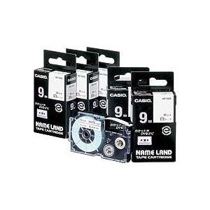 スマートフォン・携帯電話用アクセサリー スキンシール 関連 NAME LANDスタンダードテープ 24mm×8m 白/黒文字 XR-24WE 1セット(5個)