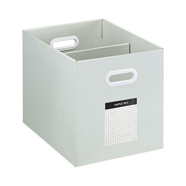 収納用品 マガジンボックス・ファイルボックス 関連 (まとめ)サンプルボックス(ワイドタイプ)A4ヨコ 背幅256mm グレー A4-WFD-M 1個 【×5セット】