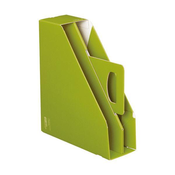 文具・オフィス用品関連 (まとめ)ファイルボックス[KaTaSu]取っ手付き・スタンドタイプ グリーン フ-KES470G 1冊 【×10セット】