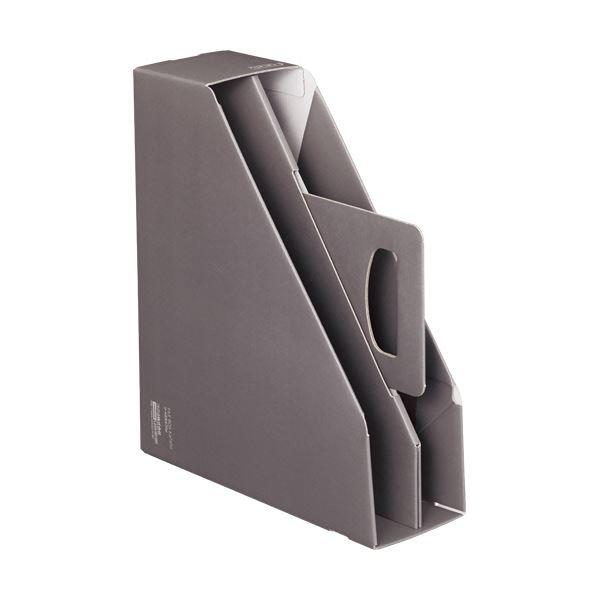 文具・オフィス用品関連 (まとめ)ファイルボックス[KaTaSu]取っ手付き・スタンドタイプ グレー フ-KES470M 1冊 【×10セット】