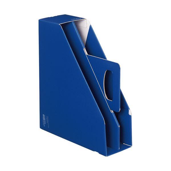 収納用品 マガジンボックス・ファイルボックス 関連 (まとめ)ファイルボックス[KaTaSu]取っ手付き・スタンドタイプ ブルー フ-KES470B 1冊 【×10セット】