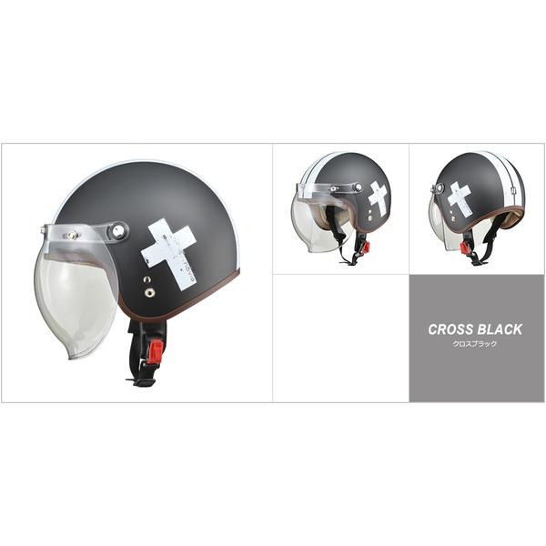 バイク用品 ヘルメット 関連 レディース NOVIA(ノービア) バブルシールド付スモールロージェットヘルメット クロスブラック