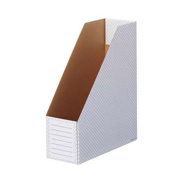 収納用品 マガジンボックス・ファイルボックス 関連 ボックスファイル(ホワイト) A4タテ 背幅100mm ブルー 1セット(50冊:10冊×5パック)