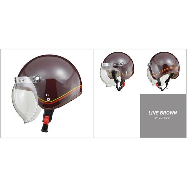 バイク用品 ヘルメット 関連 レディース NOVIA(ノービア) バブルシールド付スモールロージェットヘルメット ラインブラウン