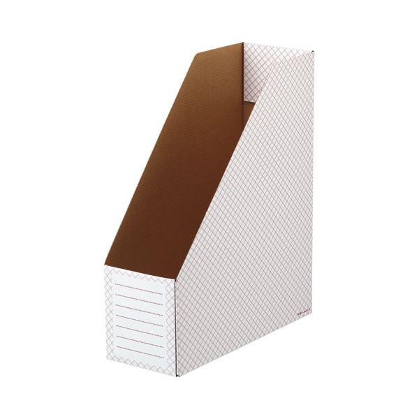 収納用品 マガジンボックス・ファイルボックス 関連 ボックスファイル(ホワイト) A4タテ 背幅100mm レッド 1セット(50冊:10冊×5パック)