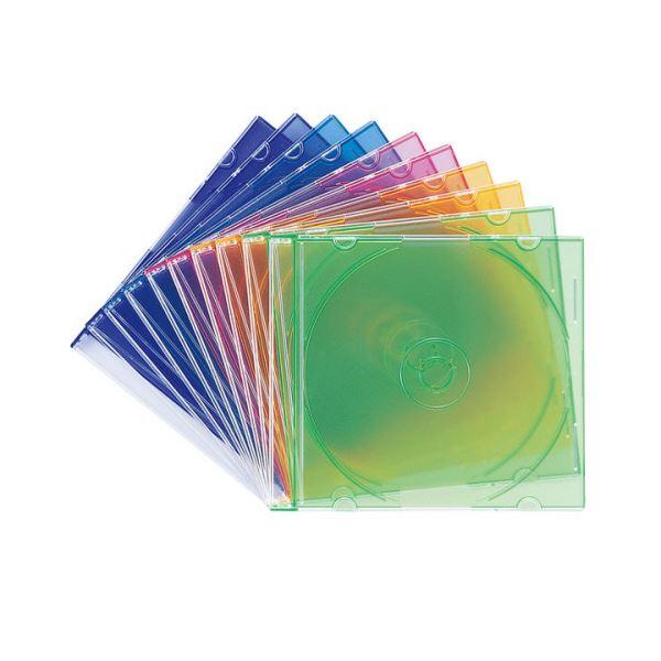 パソコン PC消耗品 記録用メディアケース CD・DVDケース 関連 (まとめ買い)DVD・CDケース5色ミックス FCD-PU10MX 1パック(10枚)【×10セット】