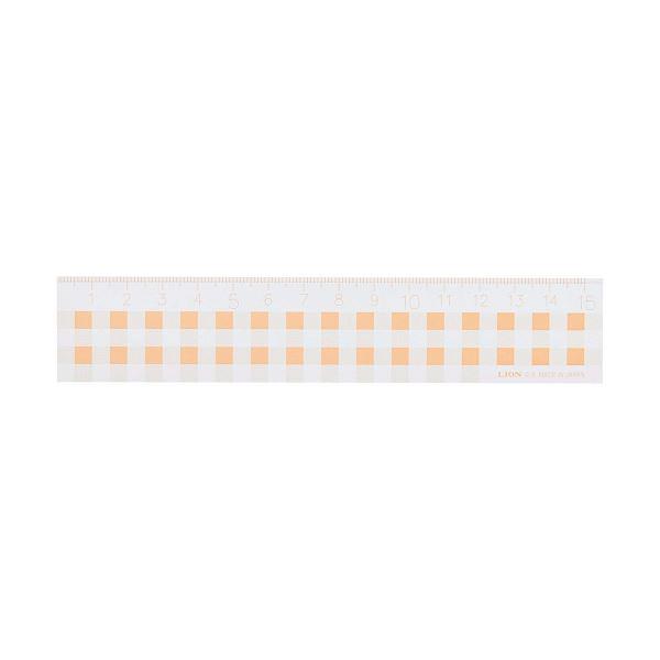 文房具・事務用品 製図用品 定規 関連 (まとめ買い)ギンガムチェック定規15cm オレンジ C-5 1本【×20セット】