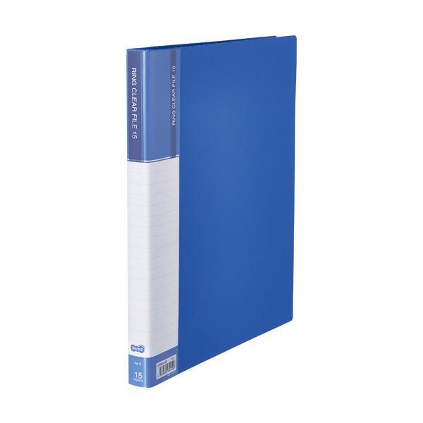 ファイル・バインダー クリアケース・クリアファイル 関連 (まとめ)PPクリヤーファイル(差替式) A4タテ 30穴 15ポケット ブルー 1冊 【×10セット】