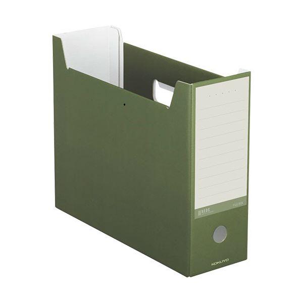 収納用品 マガジンボックス・ファイルボックス 関連 (まとめ)ファイルボックス A4ヨコ 背幅102mm オリーブグリーン A4-NELF-DG 1セット(10冊) 【×3セット】