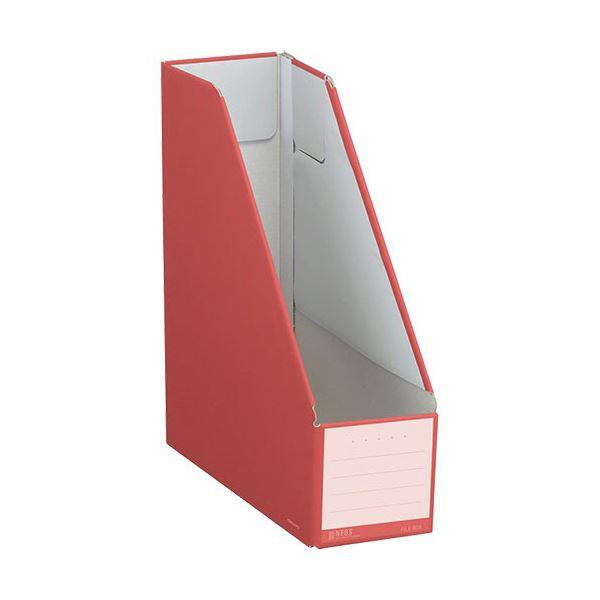 収納用品 マガジンボックス・ファイルボックス 関連 (まとめ)ファイルボックス スタンドタイプ A4タテ 背幅102mm カーマインレッド フ-NEL450R 1セット(10冊) 【×3セット】