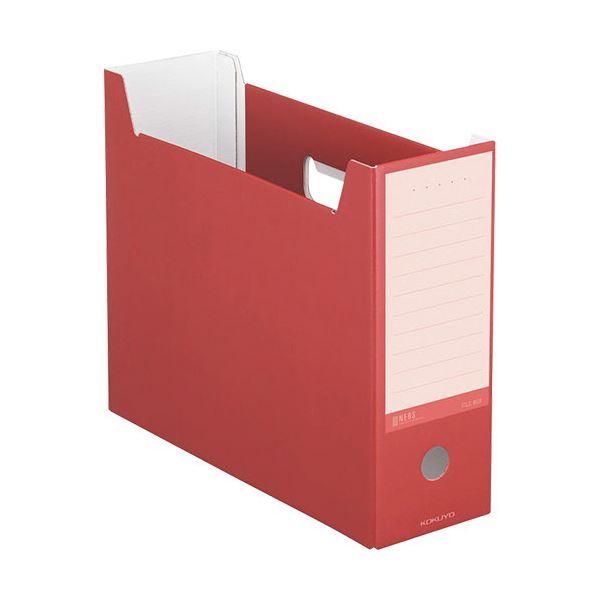 収納用品 マガジンボックス・ファイルボックス 関連 (まとめ)ファイルボックス A4ヨコ 背幅102mm カーマインレッド A4-NELF-R 1セット(10冊) 【×3セット】