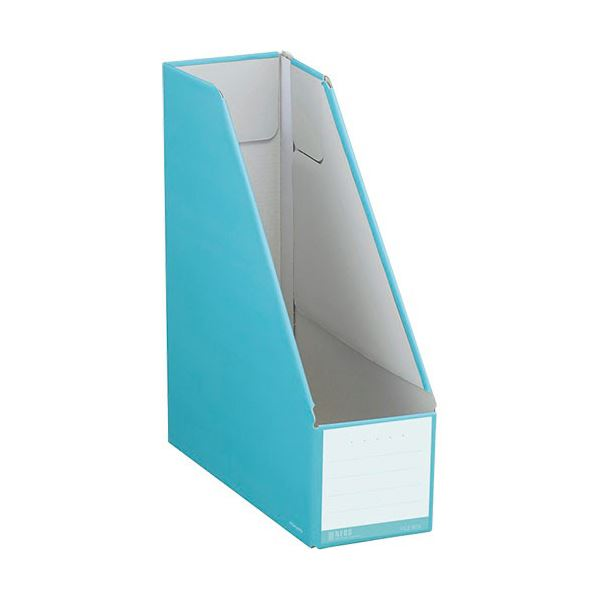 収納用品 マガジンボックス・ファイルボックス 関連 (まとめ)ファイルボックス スタンドタイプ A4タテ 背幅102mm ターコイズブルー フ-NEL450B 1セット(10冊) 【×3セット】
