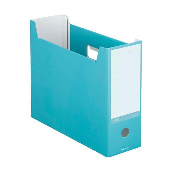収納用品 マガジンボックス・ファイルボックス 関連 (まとめ)ファイルボックス A4ヨコ 背幅102mm ターコイズブルー A4-NELF-B 1セット(10冊) 【×3セット】