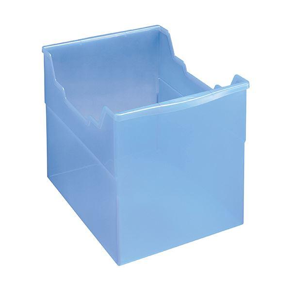 収納用品 マガジンボックス・ファイルボックス 関連 (まとめ)フリーボックス PP製A4ヨコ 背幅265mm 透明ブルー FB-235P 1個 【×5セット】