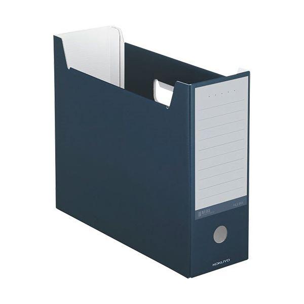 収納用品 マガジンボックス・ファイルボックス 関連 (まとめ)ファイルボックス A4ヨコ 背幅102mm ネイビー A4-NELF-DB 1セット(10冊) 【×3セット】