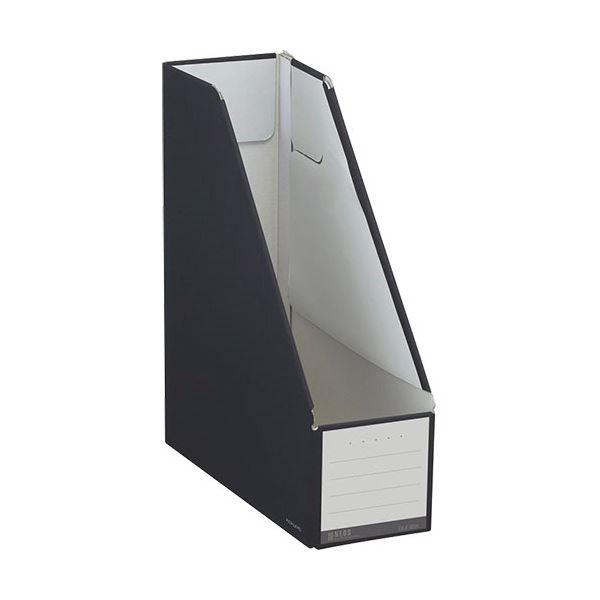 文具・オフィス用品関連 (まとめ)ファイルボックス スタンドタイプ A4タテ 背幅102mm ブラック フ-NEL450D 1セット(10冊) 【×3セット】