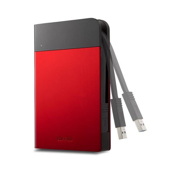 パソコン・周辺機器関連 バッファローICカード対応MILスペック耐衝撃ボディー防滴・防塵ポータブルHDD 2TB レッド HD-PZN2.0U3-R1台