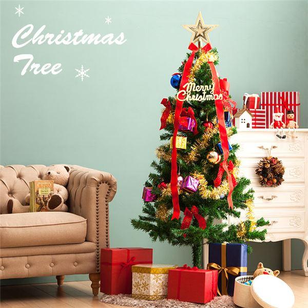 生活用品・インテリア・雑貨関連 クリスマスツリーセット カーニバル<LEDイルミネーション・オーナメント付> 高さ150cm