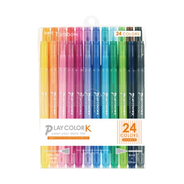 文具・オフィス用品関連 (まとめ) トンボ鉛筆 水性サインペンプレイカラーK ツインタイプ 24色(各色1本) GCF-012 1パック 【×3セット】