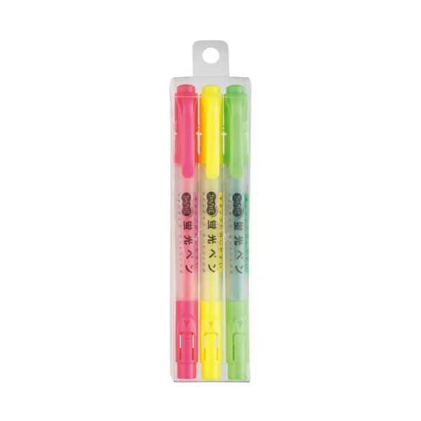 文房具・事務用品 筆記具 関連 (まとめ買い) キャップが外しやすい蛍光ペン ツイン 3色(各色1本) 1パック 【×30セット】