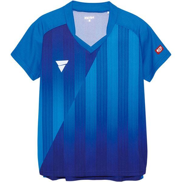 スポーツ・アウトドア 卓球 関連 V‐LS054 レディース ゲームシャツ 31468 ブルー 2XS