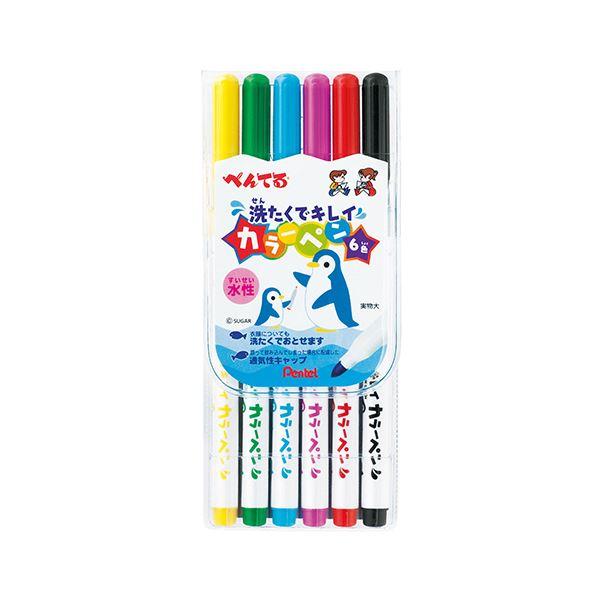 文房具・事務用品 筆記具 関連 (まとめ買い) 洗たくでキレイカラーペン6色(各色1本) SCS2-6 1パック 【×10セット】