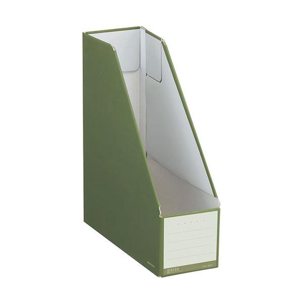 収納用品 マガジンボックス・ファイルボックス 関連 (まとめ)ファイルボックス スタンドタイプ A4タテ 背幅102mm オリーブグリーン フ-NEL450DG 1冊 【×20セット】