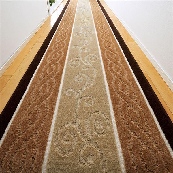 カーペット・マット関連 ふっくらふかふか廊下敷 約80×440cm ベージュ