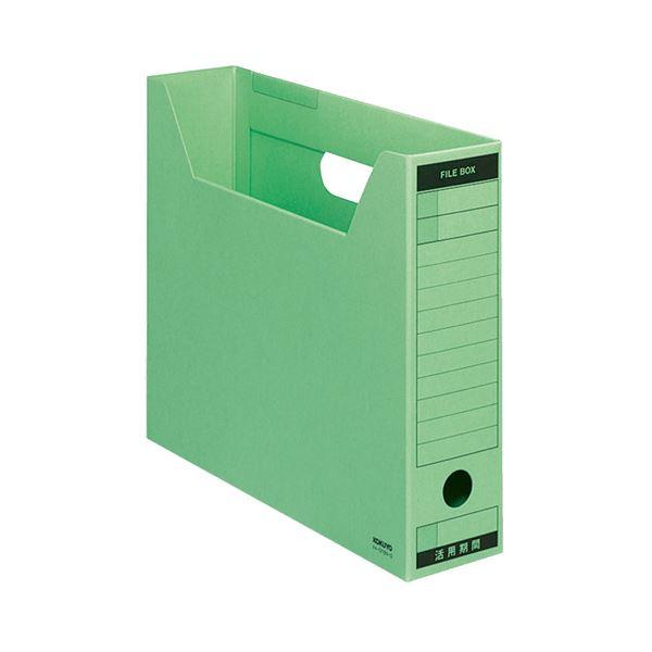 収納用品 マガジンボックス・ファイルボックス 関連 (まとめ)ファイルボックス-FS(Bタイプ) A4ヨコ 背幅75mm 緑 A4-SFBN-G 1セット(5冊) 【×3セット】