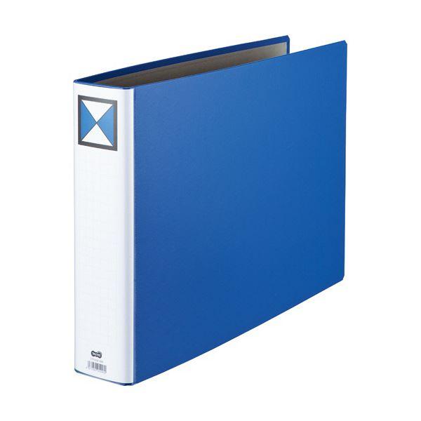 文房具・事務用品 ファイル・バインダー 関連 両開きパイプ式ファイルA3ヨコ 600枚収容 60mmとじ 背幅76mm 青 1セット(30冊)