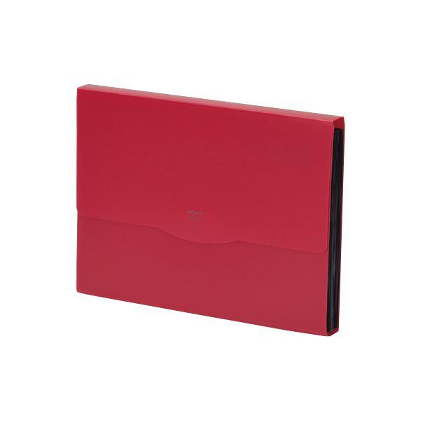 収納用品 マガジンボックス・ファイルボックス 関連 (まとめ)リクエスト不透明ドキュメントファイル A4 13ポケット 赤 G5800-3 1冊 【×10セット】