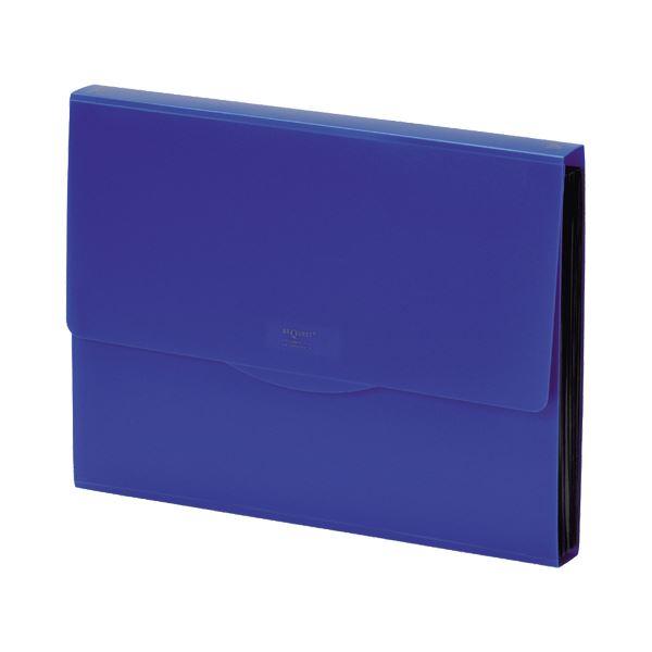 収納用品 マガジンボックス・ファイルボックス 関連 (まとめ)リクエスト不透明ドキュメントファイル A4 13ポケット 藍 G5800-11 1冊 【×10セット】
