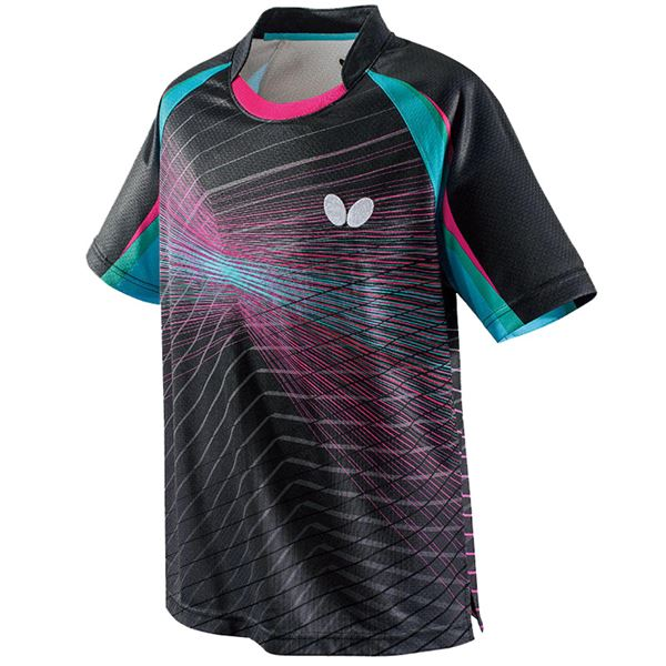 スポーツ用品・スポーツウェア 卓球用品 関連 卓球アパレル EREBAS SHIRT(エレバス・シャツ) 男女兼用 45430 ブラック×ミント 3S