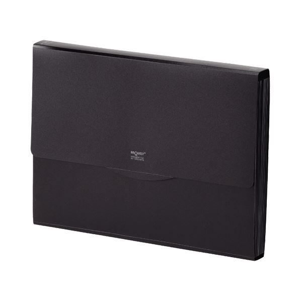 収納用品 マガジンボックス・ファイルボックス 関連 (まとめ)リクエスト不透明ドキュメントファイル A4 13ポケット 黒 G5800-24 1冊 【×10セット】