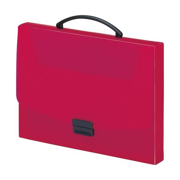 収納用品 マガジンボックス・ファイルボックス 関連 (まとめ) バッグA4 赤 A-5005-3 1個 【×5セット】