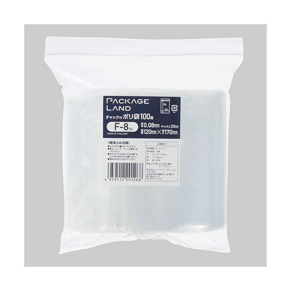 袋類関連 (まとめ) ショーエイコーポレーションチャック付ポリ袋 ヨコ120×タテ170×厚み0.08mm F-8TH 1パック(100枚) 【×10セット】