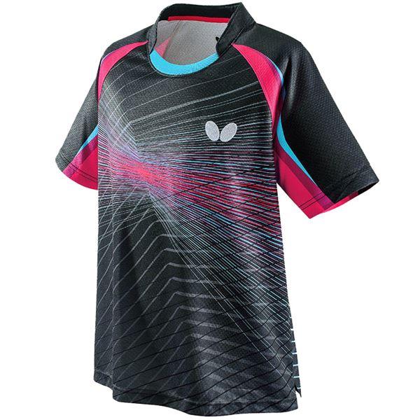 スポーツ用品・スポーツウェア 卓球用品 関連 卓球アパレル EREBAS SHIRT(エレバス・シャツ) 男女兼用 45430 ブラック×ロゼ XO