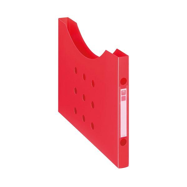 収納用品 マガジンボックス・ファイルボックス 関連 (まとめ)ボックスファイル(ノイル) スリムタイプ A4ヨコ 背幅25mm レッド BF-12n 1個 【×20セット】
