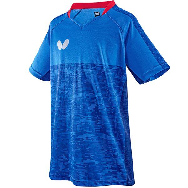 スポーツ・アウトドア 卓球 関連 バタフライ(Butterfly) 卓球アパレル ELCREST SHIRT(エルクレスト・シャツ) 男女兼用 45440 ブルー S