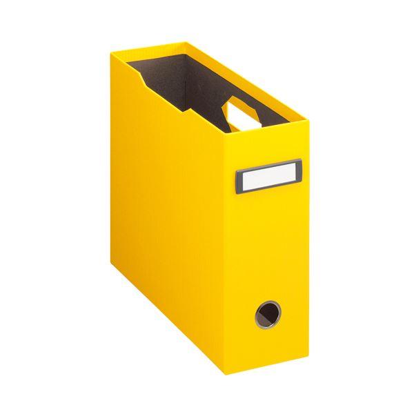 収納用品 マガジンボックス・ファイルボックス 関連 (まとめ)ボックスファイル(アコルデ) 布クロス貼り A4ヨコ 背幅102mm イエロー BF-32CL 1個 【×3セット】