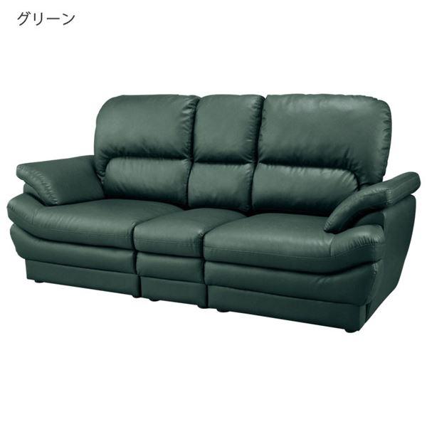 インテリア・寝具・収納 ソファ・ソファベッド ソファ 関連 ボリュームたっぷりふっくらソファ 3人掛 グリーン