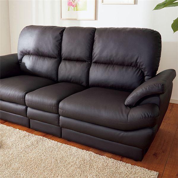 インテリア・寝具・収納 ソファ・ソファベッド ソファ 関連 ボリュームたっぷりふっくらソファ 3人掛 ブラウン