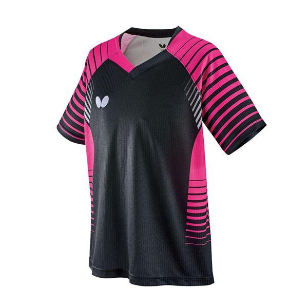 スポーツ用品・スポーツウェア 卓球用品 関連 卓球アパレル NEOLD SHIRT(ネオルド・シャツ) 男女兼用/ジュニア対応 45450 ブラック×ピンク O