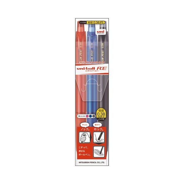 文房具・事務用品 筆記具 関連 (まとめ買い) 消せる ゲルインクボールペンユニボールR:E 0.38mm 3色(各色1本) URN180383C 1パック 【×10セット】