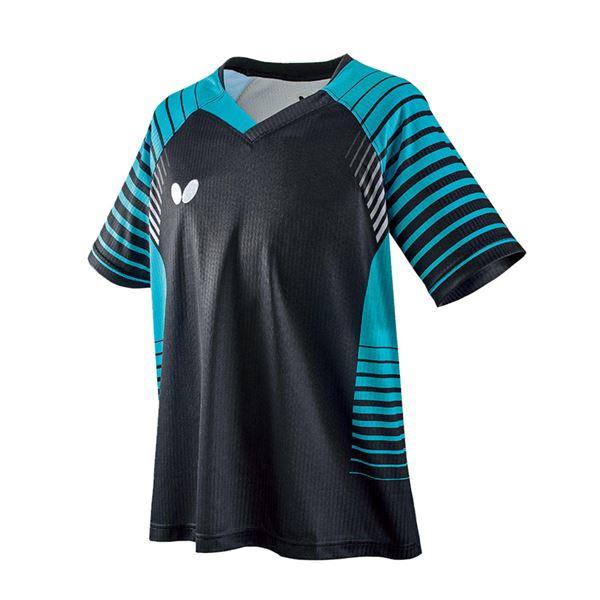 スポーツ用品・スポーツウェア 卓球用品 関連 卓球アパレル NEOLD SHIRT(ネオルド・シャツ) 男女兼用/ジュニア対応 45450 ブラック×スカイ O