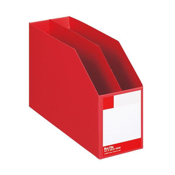 生活 雑貨 通販 (まとめ) ライオン事務器 ボックスファイル 板紙製A4ヨコ 背幅105mm 赤 B-880E 1冊 【×10セット】