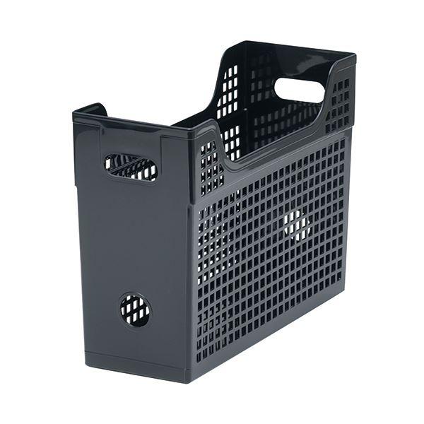 収納用品 マガジンボックス・ファイルボックス 関連 (まとめ)メッシュボックスA4ヨコ 背幅123mm 黒 1個 【×10セット】