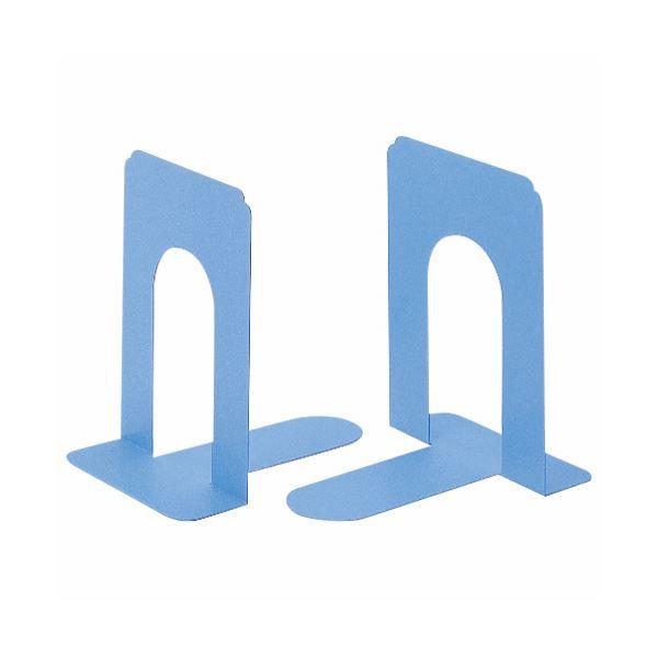 生活用品・インテリア・雑貨関連 (まとめ) ライオン事務器 ブックエンド T型 小ライトブルー NO.5 1組(2枚) 【×5セット】