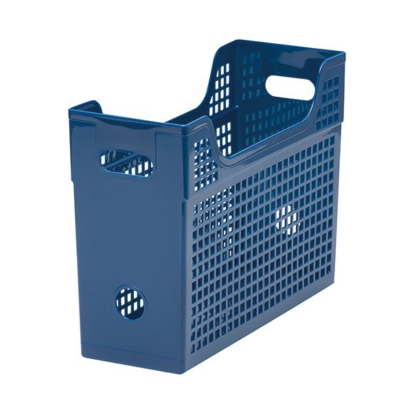 収納用品 マガジンボックス・ファイルボックス 関連 (まとめ)メッシュボックスA4ヨコ 背幅123mm 青 1個 【×10セット】